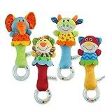 STOBOK 4 Stück Baby Rassel Ring Greifling Plüsch Spielzeug Plüschtier Musikspielzeug für Kinder Kleinkinder Ringrassel (Löwe Katze Elefanten kalb)