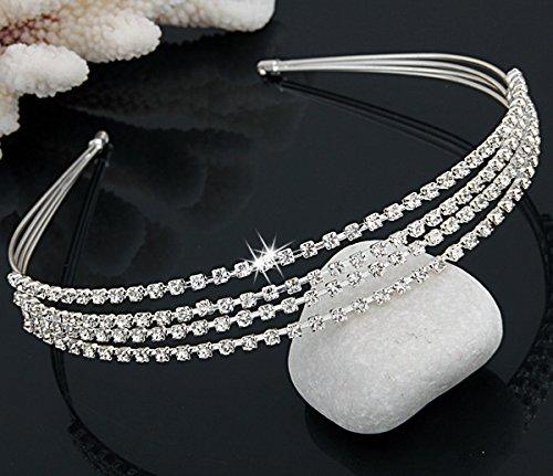 Skyllc® La moda y hermoso de plata chapada 4 Fila cristalina de la boda de la venda del pelo Cinta Alicia