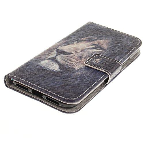 iPhone 8 Plus Lederhülle, iPhone 7 Plus Ledertasche,Vandot Abnehmbare Magnet Flip Case Ledertasche Schutzhülle für iPhone 8 Plus/iPhone 7+ Plus Detachable Leder Huelle Stand Halter Magnetverschluss Kr Löwe