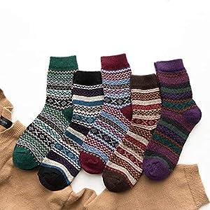 CXKWZ Damensocken 5Pairs / Lot Starkes WarmesFrauen-Socken-Weinlese-Weihnachtssocken-Buntes Socken-Geschenk