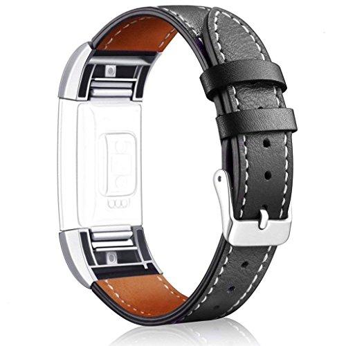 'Fitbit Charge 2Leder Armband aisports Fitbit Charge 2Leder Armband Smart Watch Ersatz-Armband, verstellbar, Gurt mit Schnalle, Verschluss für Fitbit Charge 2Armband, Fitness-Zubehör Schwarz