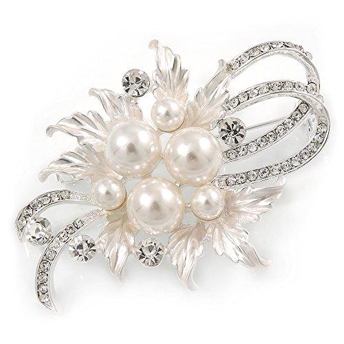 Avalaya Spilla Floreale con Perle di Vetro austriache e Cristalli Color Argento Chiaro Lunghezza 60