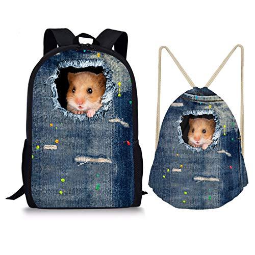 Showudesigns Denim Animal Schwarz Kordelzug Tasche Outdoor Reisen Rucksack für Kinder Geschenk M Hamster Set