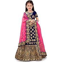 New Fashion Adda Girl's Satin Semi-stitched Lehenga Choli (FA_Blue_Party_Wear_006_Blue_Free Size)