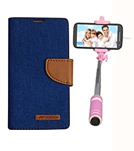 Aart Fancy Wallet Dairy Jeans Flip Case Cover for OnePlusOnePlus2 (Blue) + Mini Fashionable Selfie Stick Compatible for all Mobiles Phones By Aart Store