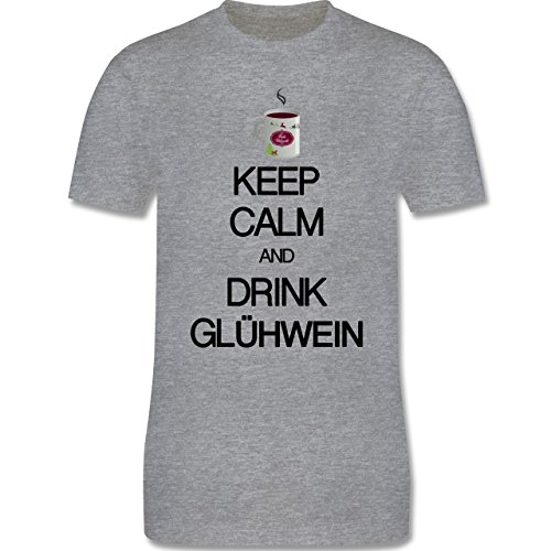 Keep calm - Keep calm and drink Glühwein - Herren Premium T-Shirt Grau Meliert