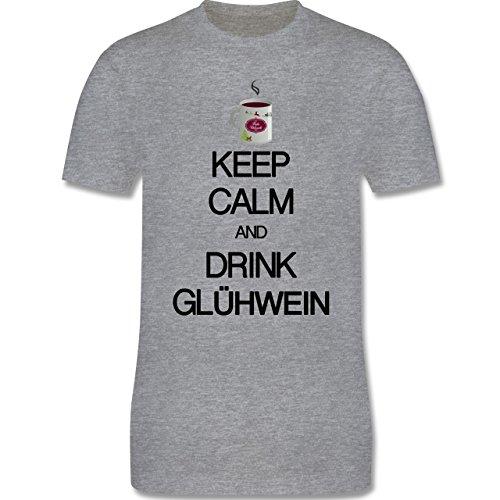 Keep calm - Keep calm and drink Glühwein - Herren Premium T-Shirt Grau Meliert
