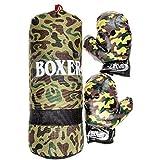 Lg-Imports Sac de Boxe pour Enfant 43 cm 700 g et Gants de Boxe Gants de Boxe Camouflage Military