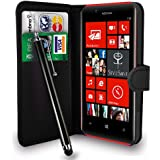 Nokia Lumia 720 Black Leather Wallet Flip Case Cover Pouch + Free Screen Protector & Touch Stylus Pen - Black