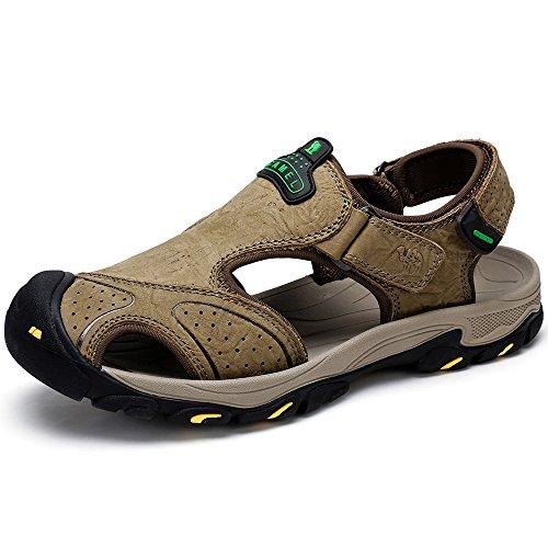Herren Sandale Leder Loafer Schuhe Geschlossene Zehe Hausschuhe Schuhe Slip auf Boot Flache Fischer Sandalen Wanderschuhe für Beach Outdoor Trekking Schuhe (UK9.5=EU44=10.63IN Feet Length, Bronze)