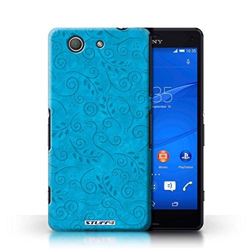Kobalt® Imprimé Etui / Coque pour Sony Xperia Z3 Compact / Pourpre conception / Série Motif Feuille Remous Turquoise