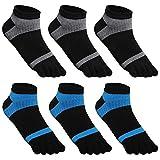 GINZIN 6 Paare Männer Zehensocken - Low Cut fünf Finger Socken- Herren Baumwoll