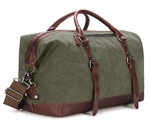 BAOSHA HB-14 Borsone da Viaggio per Sport di tela e pelle sintetica Uomo Donna Vintage Borsa Weekend Bag Borsa a tracolla di tela Casual Viaggi Tote Deposito Satchel Handbag Vagabondo Borsoni (Verde)