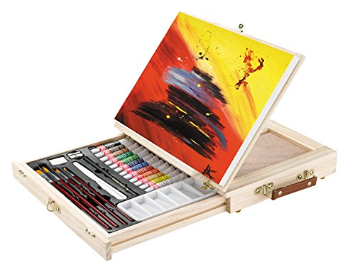 Acryl MALSET mit TISCHSTAFFELEI - 29 teilig, mit 12 Acrylfarben, 4er Pinsel Set, Utensilienkoffer, Kofferstaffelei usw.