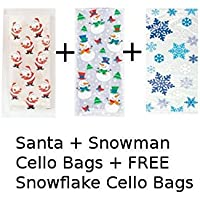 Unique Party BPWFA-4257 Christmas Santa Snowman and Snowflake Cello Bags Pack