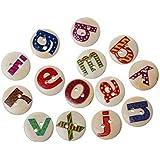 Hangood 100 Piezas Botones De Madera 2 Agujeros Para Coserlas Manualidades Letras alfabeto 15mm