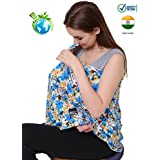 Feather Hug 360 Nursing Cover For Breastfeeding Mother, Women, Mom, Multi Use, Feeding Cloak,Poncho, Scarf, Ups, Wrap, Breathable, Canopy, Babysitting, Maternity, Kurti, Shawl, Apron, Poplin (Wal Blue)
