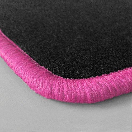 Randfarbe nach Wahl ! Passgenaue Fußmatten aus Nadelfilz mit pinkem Rand (404) für Ford Fiesta MK4 JAS JBS Baujahr 1995-1999