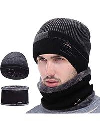 VSTON caliente de punto Beanie sombrero y círculo bufanda conjunto hombres rayas sombrero de punto polar forro polar forro esquí sombrero deportes al aire libre Sets negro