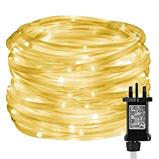 LE 10m 100 LED Rope Lights, 8 Modes Warm White String Lights with Timer and Memory Function, Plug in IP65 Water Resistant Decorative Lights for Outdoor and Indoor, Power Adaptor Included