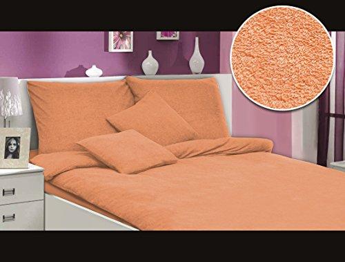 MODHAUS Bettwäsche Set Frottee einfarbig schöne Farben viele Größen / 2.Anzeige (lachs, 200x220+2x80x80)