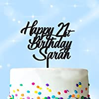 PERSONALISED Happy Birthday Cake Topper - Personalise with ANY NAME and with ANY AGE - Food Safe Acrylic Cake Decoration - Made from Strong 3mm Coloured Acrylic - 7 Different Colours to Choose From