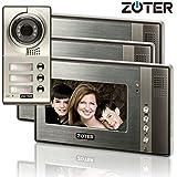 """Generic 17,8cm """"écran LCD couleur interphone vidéo de porte Sonnette Téléphone Maison entrée Système 3Moniteur 1Vision nocturne pour appareil photo en métal 3famille 702"""