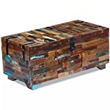 Zora Walter Rectangle Couchtisch Truhe recyceltes Massivholz Sofatisch Beistelltisch Wohnzimmertisch Kaffetisch Mit DREI Ablagef?Chern (EIN kann verschlossen Wird) und Einer Schublade