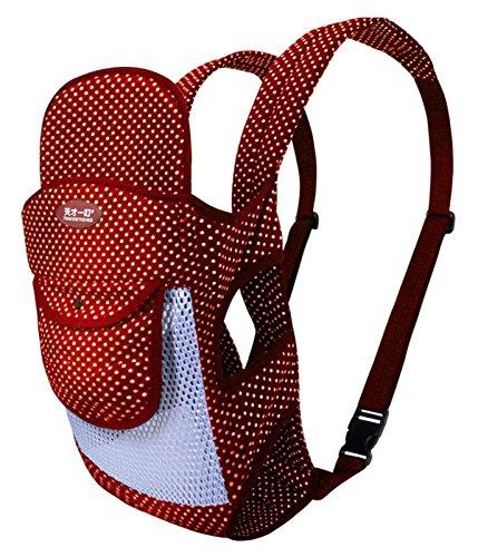 Tiancaiyiding Portador de Bebé Algodón Ergonómica Transpirable para Recién Nacido Multifuncional Portabebés Ajustable Ligero Baby Carrier Multifuncional Cómodo Verano 20Kg - Rojo