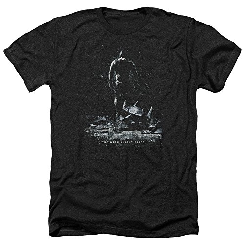 Trevco Herren Dark Knight Rises Bane Poster Adult Heathered T-Shirt, Heather Black, Klein (Dark Knight Bane Rises)