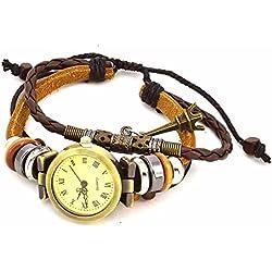 Armbanduhren Quarz Analog Römischen Ziffern Leder Modeschmuck Uhr Damen rund Eiffelturm Moli 9 Braun Geschenk Damen