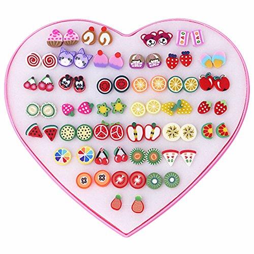 ERlobo Ohrringe Jewelry_Love Boxed Ohrstecker niedliche weiche Keramik-Frucht-Tierblumen, WE0054-1