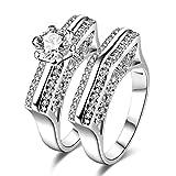 AMDXD Doppelring Versilbert Ringe Damen Runde Kreis Diamant Form Zirkonia Ehering Silber Größe 54