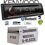 Mercedes A-Klasse W168 - Autoradio Radio Kenwood KDC-BT520U - Bluetooth CD/MP3/USB - Einbauzubehör - Einbauset