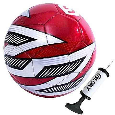 Glory Sports Pro Balle Ballon de Foot d'entraînement Match Spécial en PVC (Toucher Souple) Taille 5 Rouge + Pompe
