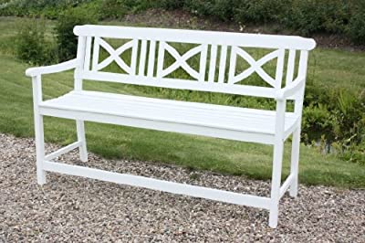 Bank / Seniorenbank ALBORG mit extra hohem Sitz für leichtes Aufstehen aus robustem Akazienholz, weiss beschichtet