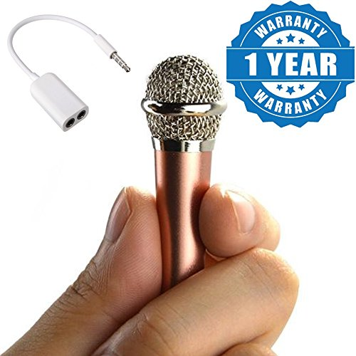 Captcha Mini 3.5mm Wired Handheld Microphone Player Singing & Record & 3.5MM Audio Earphones Splitter Adapter 1 to 2 Connector Compatible with Xiaomi, Lenovo, Apple, Samsung, Sony, Oppo, Gionee, Vivo