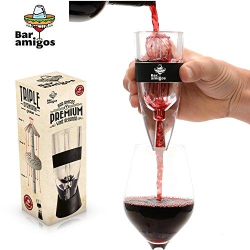 Bar Amigos® Premium Wine Aerator El Aireador De Vino - A nivel mundial PATENTADO Triple Diseño Acción: se utiliza por los amantes del buen vino expertos sumilleres y restaurantes alrededor del mundo - fácil de limpiar - El sistema incluye soporte de exhib