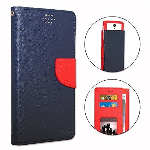 SFR StarAddict Android Edition Etui Housse folio bleu marine et rouge façon cuir texturé avec porte cartes et surpiqûres apparentes by PH26®