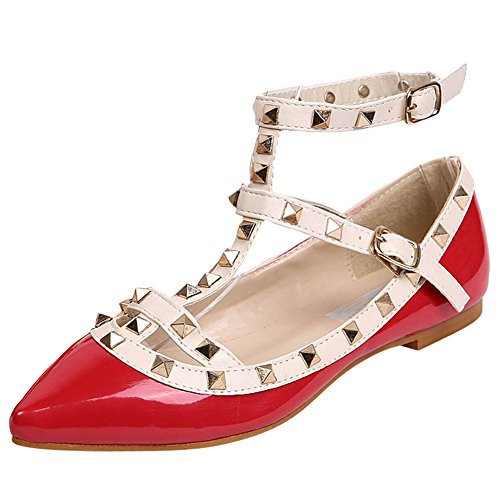 Ochenta scarpa da donna, basse, borchie, cinghia alla caviglia Rosso Size: 38