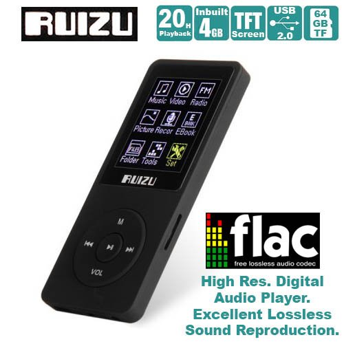 Gadget Hero's RUIZU Ultra Portable High Res. Multimedia Player, Supports FLAC APE FLAC APE MP3 WAV WMA. Built In 4 GB. 64Gb Micro SD Card Supported. Excellent Lossless Sound Reproduction. AV Player Voice Recorder FM Player Ebook Reader Calendar Alarm Clock