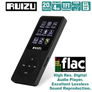 Gadget Hero's RUIZU Ultra Portable High Res. Multimedia Player, Supports FLAC APE FLAC APE MP3 WAV WMA. Built In 8 GB. 64Gb Micro SD Card Supported. Excellent Lossless Sound Reproduction.