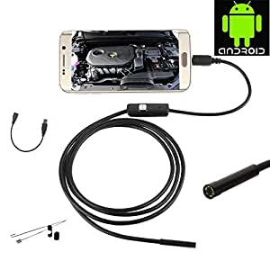 JZHY 1.5m / 4.92ft long Smartphone Android USB endoscope cam¨¦ra d'inspection, 5.5mm Diam¨¨tre 6 LED HD 720P ¨¦tanche IP67 Serpent endoscope