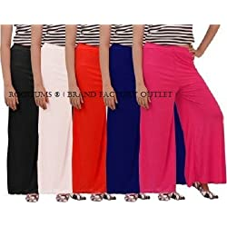 ROOLIUMS ® (Brand Factory Outlet) Women's Light Weight Palazzo Pack of 5 (Black,White,Red,N-Blue,Pink) - Free Size