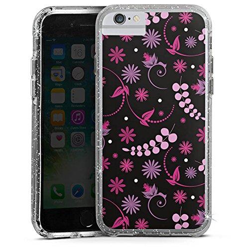 Apple iPhone 6 Bumper Hülle Bumper Case Glitzer Hülle Bluemchen Flowers Pink Bumper Case Glitzer silber