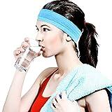 HopMore 1 Stück Yoga Fitniss Running Sport Stirnbänder Stirnband Elastische Haar Band Silikon Sommer Kopfband Headband - Blau