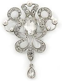Suite/boda/pedrería y cristal austríaco, del encanto de la perla de imitación chapado en Rodio - broche de 75 mm L