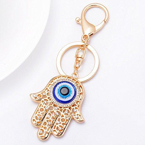 Llavero con amuleto de mano de Hamsa, dorado, ojo de Fátima, bonito símbolo de Talismán Khamsa, colgante de mal de ojo, llavero trae suerte y protege regalo espiritual