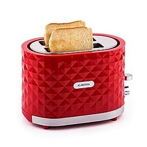 Klarstein Granada Rossa Design 2 Scheiben-Toaster mit hübsch gemusterter Diamant-Relief Karo-Oberfläche (1000 W, mit Brötchenaufsatz, stufenloser Bräunung, Auftau- und Aufwärm-Funktion) rot