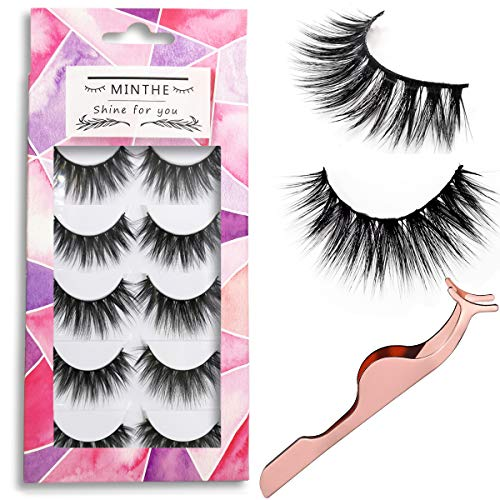 MINTHE 5 pairs Faux 3D Mink lashes multipack,False eyelashes natural with an eyelash applicator tool.false lashes,3d fake eyelashes,fake lashes. (C1)